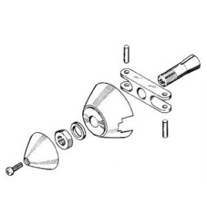 MP JET Ogiva alluminio 30 mm asse Ø 3 (spess. 5 mm)
