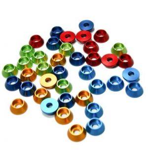 Secraft Rondelle coniche per testa cilindrica 3,5x10mm ROSSE - 12 pz