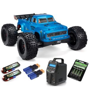Arrma NOTORIOUS 6S BLX 4WD 1/8 Brushless Classic Stunt Truck RTR, Blue SUPER COMBO 6S