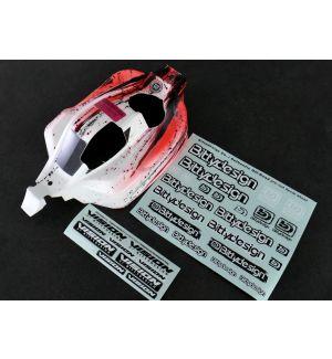 Bittydesign Carrozzeria VISION per Kyosho MP10 Pre-tagliata Colorazione Grunge Rossa