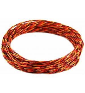 Robbe Cavo servi trecciato 26awg-0,14mmq (marrone/rosso/arancio) 10 mt