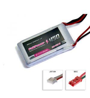 FullPower Batteria Lipo 3S 450 mAh 35C Silver V2 - BEC