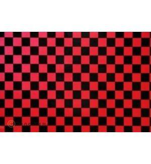 Oracover OraFUN3 rosso perla/nero scacchi 25x25mm, 2 mt.