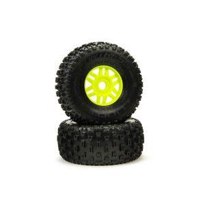 Arrma dBoots 'Fortress' Tyre Set Glued Green (Pair) - ARA550068