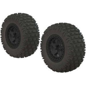 Arrma AR550042 Fortress SC Tire Set Glued Black (2) - ARAC9630