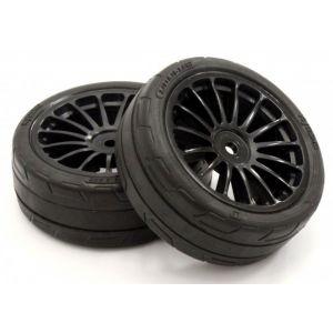 Kyosho Premounted Tire FZ02(15-Spoke BK/M/2pcs) - FATH702BKM