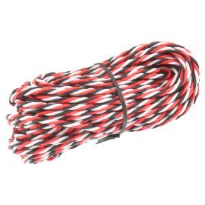 Robbe Cavo servi trecciato 26awg-0,14mmq (nero/rosso/bianco), 10 mt