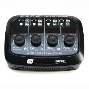 Spektrum S44 Micro 12/220V 1S LiPo 4 porte Smart Charger Caricabatterie