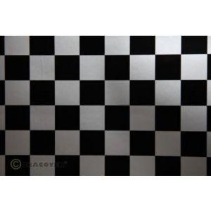 Oracover OraFUN3 argento/nero scacchi 25x25mm, 2 mt.